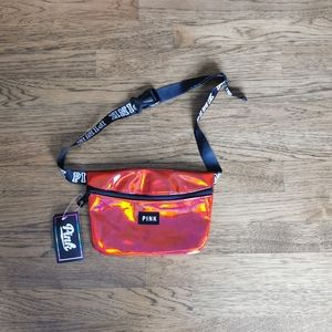 VS Pink Irridescent Red Fanny Pack NWT
